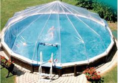 Above Ground Pool Dome! Would be so cool in the rain! No cleaning the pool every time you want to swim! I want this!!