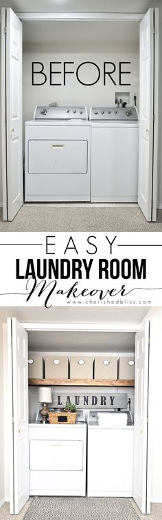 This Laundry Room Makeover transforms this little closet with wasted space into a functional laundry area with just a few simple changes! - Our Home Decor Apartment Living, Room Makeover, Apartment Decorating Rental, Room Design, Small Spaces, Home, New Homes, Apartment Decor, Laundry Room Makeover