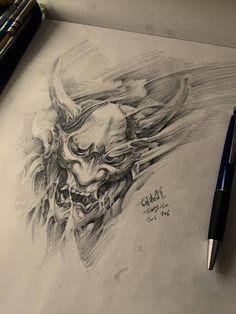 Chronic  Ink Tattoo - Toronto Tattoo Hannya Mask drawing done by Tony.