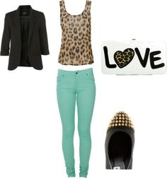 mint/leopard/black, created by shanyryc on Polyvore