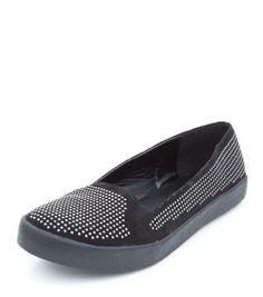 Wide Fit Black Jewelled Low Cut Slip On Plimsolls