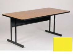 """High Pressure Top 30"""" x 60"""" Keyboard Height Work Station 26"""" in Yellow Finish By Correll by Correll. $422.00. Keyboard height: 26 inchReal high-pressure top with backer sheet (not fused-on melamine) 1.25 inch thick Top match our high-pressure folding tables and activity tables sold separately Sturdy all steel frames with adjustable nylon glides Steel modesty panel with wire management trough on inside bottom edge Modesty Panel has 1 wire management hole Dimensi..."""