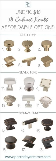 Affordable cabinet hardware knobs to update your kitchen or bath. Kitchen Cabinet Hardware, Bathroom Hardware, Kitchen Handles, Cabinet Handles, Hardware For Cabinets, Kitchen Cabinets, Kitchen Knobs, Bathroom Cabinets, Gold Kitchen