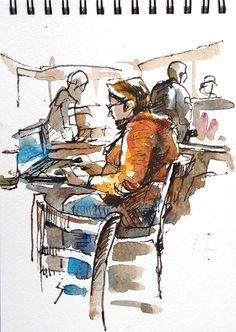 Suhita Shirodkar - Peets Tea And Coffee Watercolor Sketchbook, Pen And Watercolor, Watercolor Portraits, Art Sketchbook, Sketches Of People, Drawing People, Painting People, Art Sketches, Art Journal Inspiration