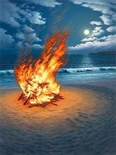 beach fire and moon