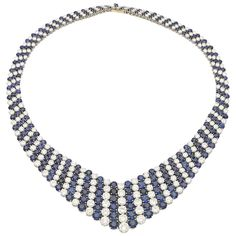 1960s Van Cleef & Arpels Magnificent Sapphire Diamond Platinum Stripe Necklace | From a unique collection of vintage more necklaces at https://www.1stdibs.com/jewelry/necklaces/more-necklaces/