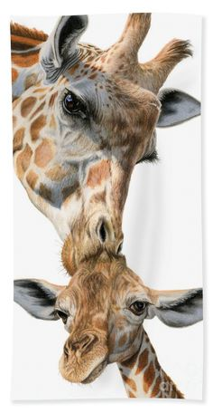 Giraffes Beach Towel featuring the painting Mother And Baby Giraffe by Sarah Batalka