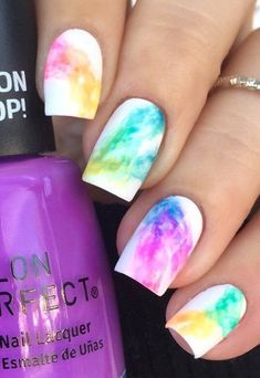 Rainbow nail art designs are very popular this season. Some women like rainbow nails. Rainbows may have different meanings in one's life. It can be a basic way to indicate life and its many stages of mental state. If you also like rainbow nails, lo Rainbow Nail Art Designs, Cute Easy Nail Designs, Cute Acrylic Nail Designs, Short Nail Designs, Nail Designs Spring, Best Acrylic Nails, Teal Nail Designs, Fingernail Designs, Spring Design