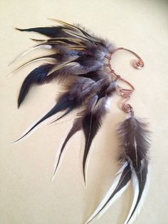 feather ear cuff / feather cuff / tribal by Atlasenchantress
