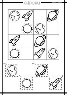 Math For Kids, Puzzles For Kids, Games For Kids, Sistema Solar, English Activities, Preschool Activities, Outer Space Theme, Back To School Party, Sudoku Puzzles