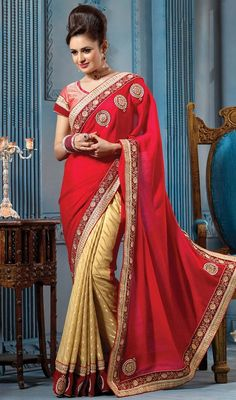 Captivate the essence of elegance in your daily looks wrapped in this beige and red color georgette half n half sari. This wonderful attire is showing some brilliant embroidery done with bead, lace, patch, resham, stones and velvet patch work. Upon request we can make round front/back neck and short 6 inches sleeves regular saree blouse also. #StunningLookGeorgetteEmbroideredSari