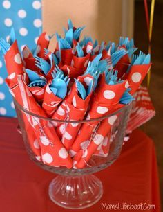 Dr Seuss Birthday Party Ideas – Silverware 1st Birthdays, Cereal, Breakfast, Food, 1st Year Birthday, 1 Year Birthday, Eten, Hoods, Meals