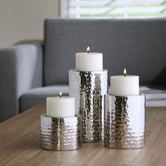 Hosley's Silver Finish Pillar LED Candle Holders, Set of Hand Hammered by Artisans, Silver Finish. For use with x pillar candles only. Candles not included. Silver Candle Holders, Garden Candles, Wedding Decorations, Christmas Decorations, Home Spa, Pillar Candles, Reiki, Tea Lights, It Is Finished