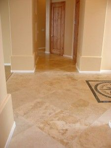 travertine floor-honed and filled (for kitchen, entryway and bathrooms) Foyer Flooring, Best Flooring, Flooring Options, Kitchen Flooring, Flooring Ideas, Travertine Floors, Stone Flooring, Bathroom Pics, Bathrooms