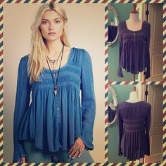 Free People Bluebird Smocked Tunic Beautiful Free People Bluebird Smocked Tunic size small new with tags! I love the cut of this sweet top and the fabric – love the way it hangs. Free People Tops Blouses