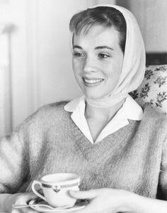Julie Andrews drinking tea