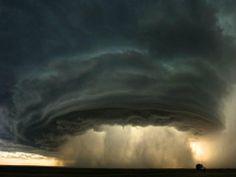 Super cell thunderstorm rolls across a Montana prairie