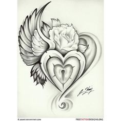 Tattoos / wing heart lock rose tattoo found on Polyvore featuring polyvore, women's fashion, accessories, body art and tattoos
