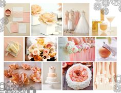 2013 Peaches and Cream Colour Trend Wedding Colors, Wedding Ideas, Cream Colour, Peaches, Color Trends, Color Schemes, Table Decorations, Cake, Inspiration