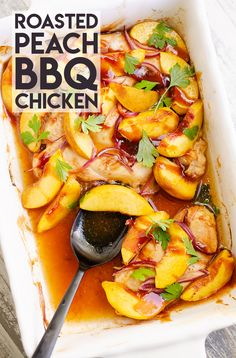 Roasted Peach BBQ Chicken Bake is an easy and healthy 5 ingredient dinner recipe made in just 30 minutes and bursting with sweet and savory flavors! #30MinuteDinner #BBQChickenBake #FreshPeachRecipe