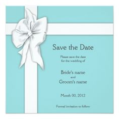 Blue Wedding Save the Date Cards Blue Gift Box Design Save the Date Card