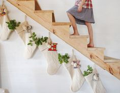 Love this homespun, cottagey look. Plus, shows how nice they look along the stairs.