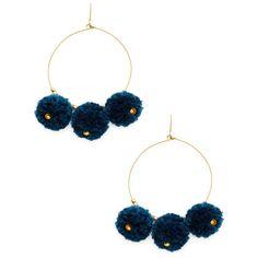 Chan Luu Women's Pom Pom Hoop Statement Earrings - Dark Blue/Navy ($35) ❤ liked on Polyvore featuring jewelry, earrings, pom pom earrings, chan luu jewelry, long earrings, statement earrings and navy earrings