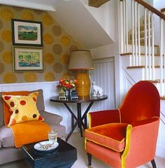 william yeoward home | love the cheerful Babes chair covered in orange antique velvet and ...