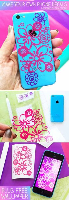 iPhone Decals | DIY Cricut Crafts & Ideas | Fun and Cute Projects for Kids and Adults by DIY Ready at http://diyready.com/diy-cricut-crafts/