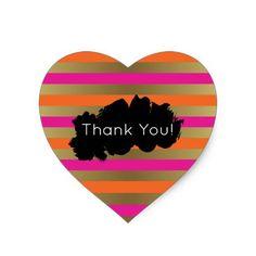 Pink, Orange & Faux Metallic Gold Stripes Thanks Heart Sticker