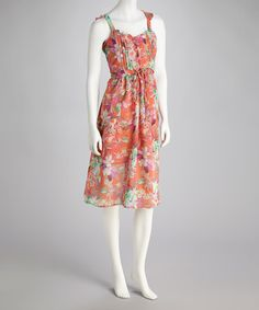 Take a look at this Peach Floral Dress by Unity on #zulily today! $9.99, regular 29.00