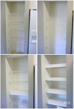 Cover the wire shelves with molding to make them look like real shelves
