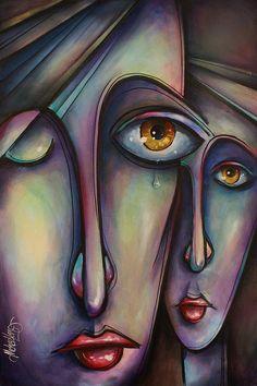 Portrait Art Painting - Silence by Michael Lang Modern Portrait Artists, Tableau Pop Art, Art Visage, Abstract Face Art, Acrylic Artwork, Modern Art Paintings, Art Pages, Artist Art, Figurative Art