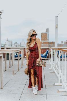Maxi Dress for Fall & the Perfect White Booties - According to Blaire Bar Outfits, Night Club Outfits, Vegas Outfits, Dresses For Teens, Club Dresses, Midi Dresses, Date Night Fashion, Mom Fashion, Fashion Group