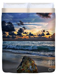 #Sunrise #Seascape Wisdom #Beach #Florida C3 Queen #Duvet #Cover by #Ricardos #Creations #RicardosCreations.  Available in king, queen, full, and twin.  Our soft microfiber duvet covers are hand sewn and include a hidden zipper for easy washing and assembly.  Your selected image is printed on the top surface with a soft white surface underneath.  All duvet covers are machine washable with cold water and a mild detergent.