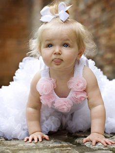 White Oopsy Daisy Baby Tank with Baby Pink Rosette Accents Little Doll, Little Babies, Cute Babies, Little Girls, Baby Kids, Funny Babies, Precious Children, Beautiful Children, Beautiful Babies