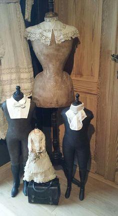 Wondeeful vignette of dress form and manniquins! #dressforms #manniquins