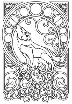 A majestic wolf is framed by intricate Art Nouveau swirls. Downloads as a PDF. Use pattern transfer paper to trace design for hand-stitching.