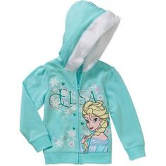 Disney Frozen Elsa Baby Toddler Girl Faux Fur Trim Fleece Hoodie, Blue
