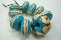 Handmade Lampwork Beads Blue and Ivory Glass Silver Dotted