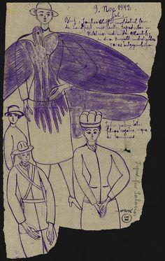 YANKEE BLUFF/UNTITLED (double-sided)/ Gustav (1885, Germany–?), November 9, 1942, psychiatric hospital, France, ink on paper, 10 7/8 x 6 1/2 in., Collection de l'Art Brut, Lausanne, Switzerland, cab-2076. Photo credits: © Collection de l'Art Brut, Lausanne. Photo by Caroline Smyrliadis, Atelier de numérisation—Ville de Lausanne