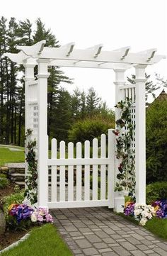 New England Arbors | Store | Cottage Picket Gate ... match pergola top w/ entry topping???