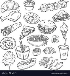 Collection of Food Items by hoverfly Set of hand drawn fast food objects isolated on white background Food Drawing Easy, Cute Food Drawings, Easy Drawings, Food Doodles, Food Sketch, Coloring Pages Inspirational, Object Drawing, Food Illustrations, Art Crafts