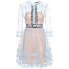 Gucci Embellished Ruffled Tulle Dress (13.130 BRL) ❤ liked on Polyvore featuring dresses, gucci, vestidos, blue, frilly dresses, embellished cocktail dresses, blue ruffle dress, pink tulle dresses and ruffle dress