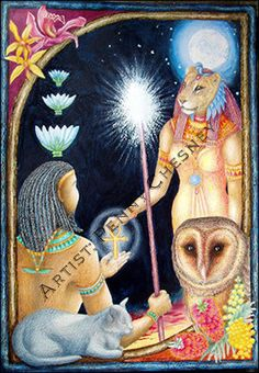 sekhmet goddess | Goddess Sekhmet hands the key of life to her son Nefertem