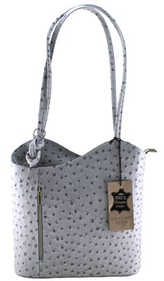 CTM Bag Women's Leather Shoulder Ostrich, 28x30x9cm, 100% Genuine Leather Made in Italy. Bag 100% made in Italy. Genuine leather bag. Hand-finishing of high quality.