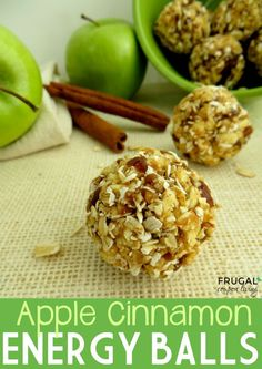 Apple Cinnamon Energy Balls & Bites with dates, apples, oats and cinnamon. Easy to make. Recipe details on Frugal Coupon Living. Pin to Pinterest.