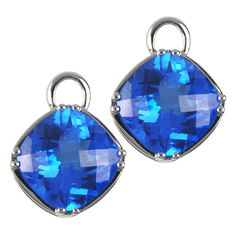 Faceted 8mm Round Topaz Blue INTERCHANGEABLE Earring Charms YG