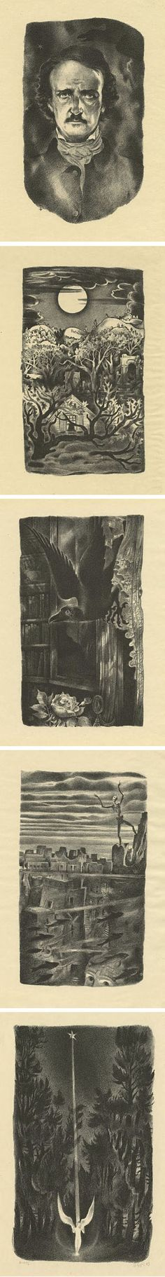 Lithographs of Edgar Allen Poe works, by Hugh Steiner-Prag (1880-1945). From top: Poe, The Sleeper, The Raven, The City in the Sea, Ulalume. Many more at link.