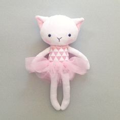 Cat rag doll - Plush cat - Handmade cat doll - Stuffed toy - plush doll - Cloth Doll - Fabric Cat Doll -  Stuffed doll - with a tutu.